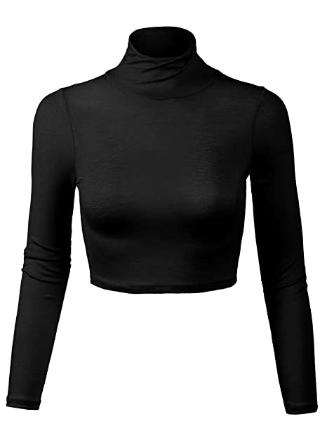4be4fcaf6f5 KOGMO Women's Lightweight Fitted Long Sleeve Turtleneck Crop Top with  Stretch-S-BLACK