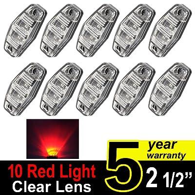 10 pcs TMH 2.5 Inch 10 pcs Clear Lens Red Light Super Flux Side Led Marker, Trailer marker lights, Led marker lights for trucks, RV Cab Marker light Red, Surface Mount LED: Automotive