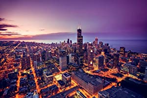 Chicago Illinois Skyline at Sunset Aerial View Willis Tower Photo Cool Wall Decor Art Print Poster 36x24