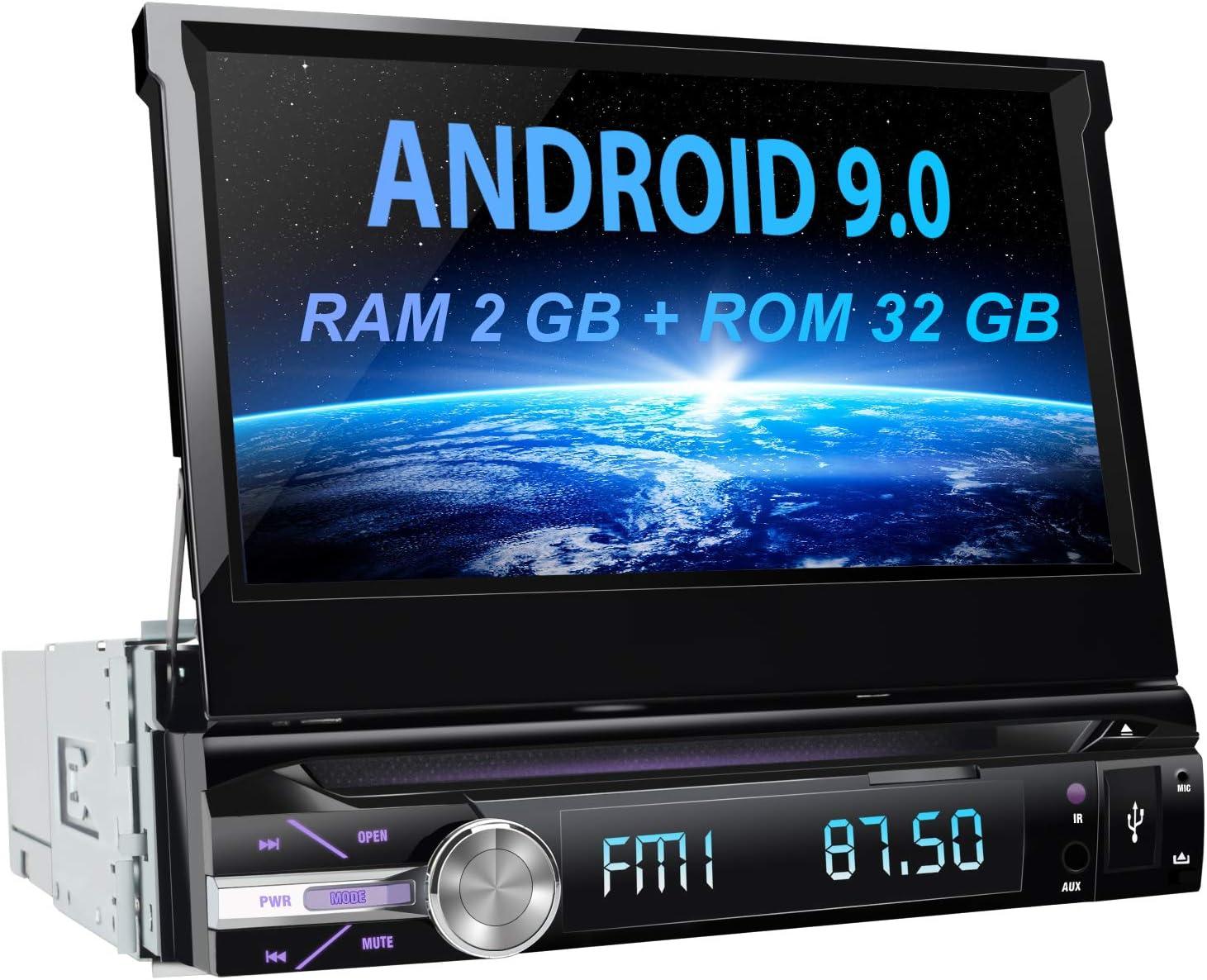 AWESAFE Android 9.0 [2GB+32GB] 7 Pulgadas Pantalla Universal 1 DIN Radio, Autoradio 1 DIN con CD DVD/WiFi/Navegador GPS/Bluetooth/Mandos Volantes/RDS/USB/SD/Subwoofer/Mirror Link