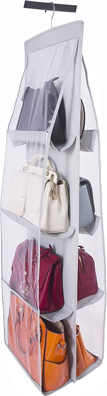 Amelitory Hanging Handbags Holder for Closet 4 Shelf Purse Bags Storage 8 Compartment Dust-Proof Organizer Gray