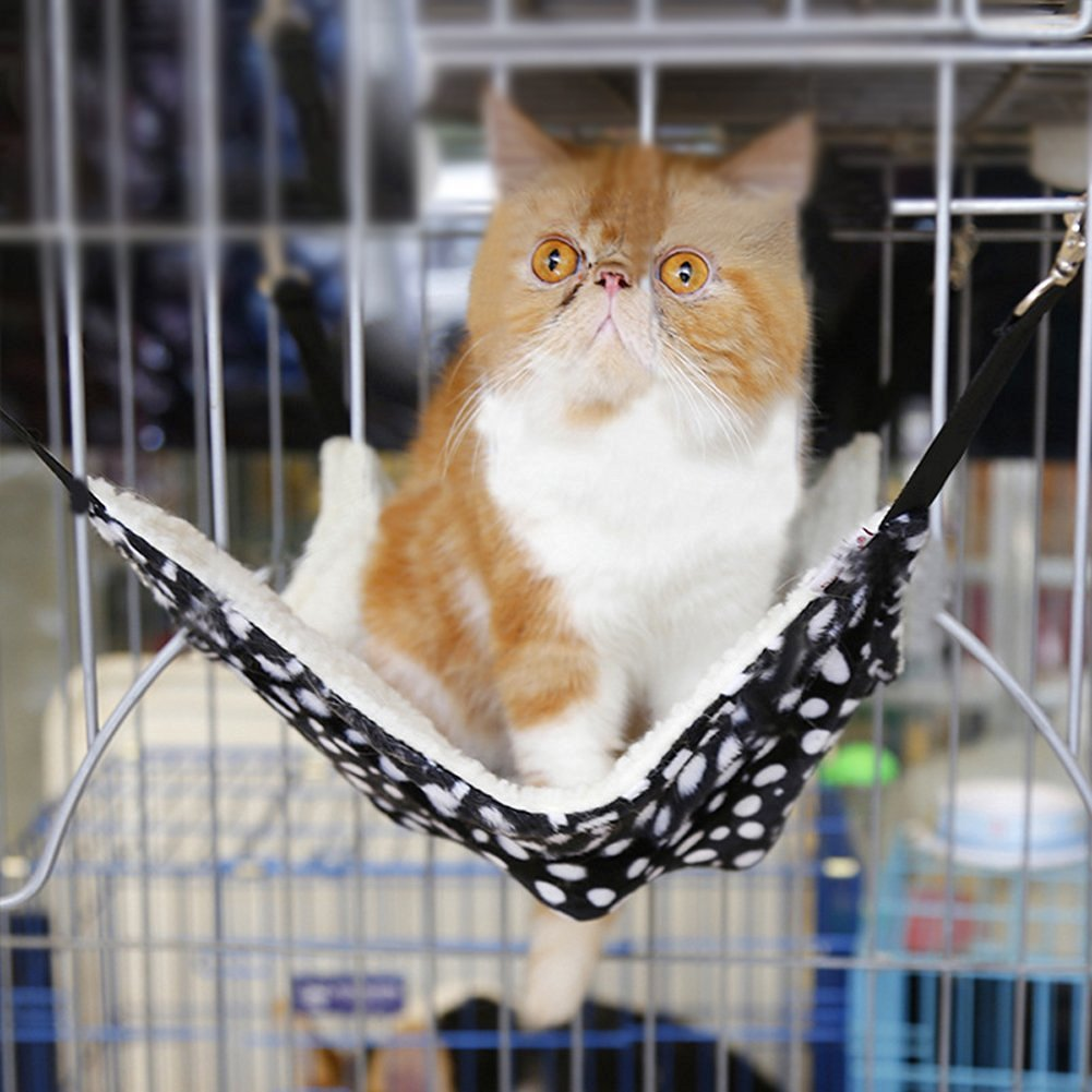 Fashion Cat Kitty Hammock for Pet Ferret Chinchilla Rabbit Puppy Cozy Warm Fleece Bed Bunk Cage Chair Nest Swing Hanging Cat Kitten Hammock Lounge Sleepy Mat Pad Cradle for Small Animals up to 15 lbs by Fakeface