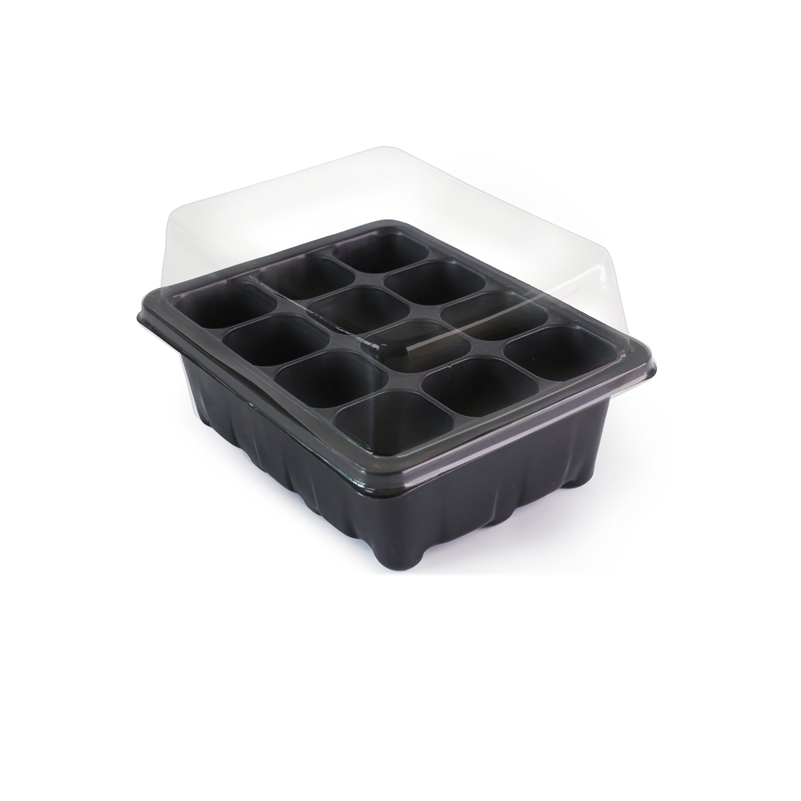 LOVEDAY 12 Grow Trays with Humidity Dome and Cell Insert - Mini Propagator for Seed Starting and Growing Healthy Plants - Durable, Reusable and Recyclable – 10 Pack – 120 Cells (12 Grow Trays)