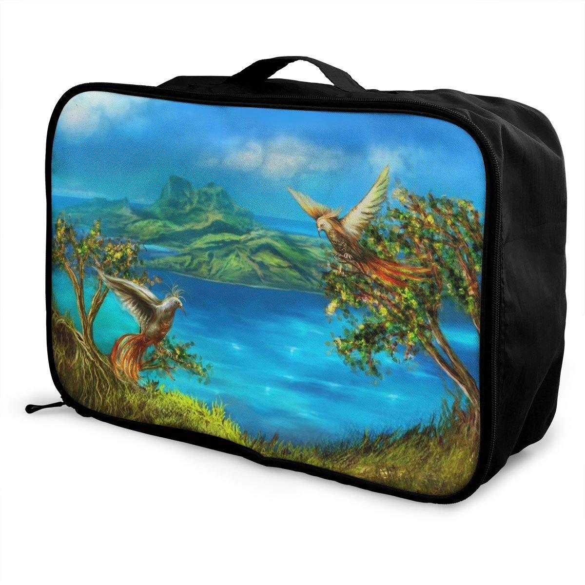 Travel Luggage Duffle Bag Lightweight Portable Handbag Fantasy Bird Pattern Large Capacity Waterproof Foldable Storage Tote