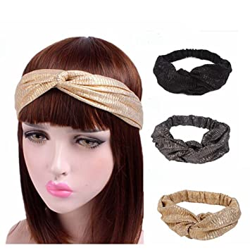 Amazon.com   Urberry 3Pieces Boho Headbands for Women Vintage Criss Cross  Elastic Head Wrap Twisted Cute Hair Accessories   Beauty 5ea80396908