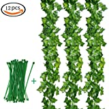 12X Artificial Hanging Ivy Vine Leaf Garland Fake Foliage Green Leaves Plant Flowers ,Tatuer, Home Wedding Party Garden Wall Decoration (Green)