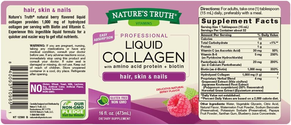 Nature's Truth Collagen Liquid, Berry, 16 Fluid Ounce