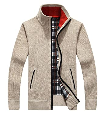 db68f001bed Epsion Men s Casual Slim Full Zip Thick Knitted Cardigan Sweaters with  Pockets Beige XS
