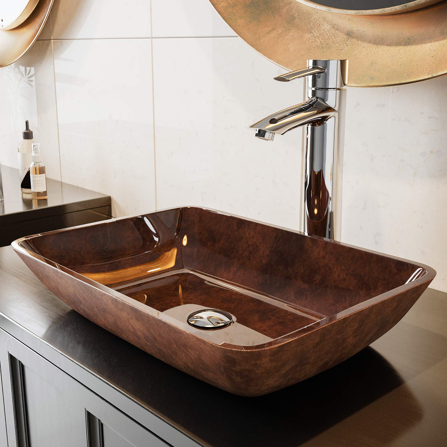 Vigo vg07089 18 rectangular russet glass vessel bathroom sink amazon com