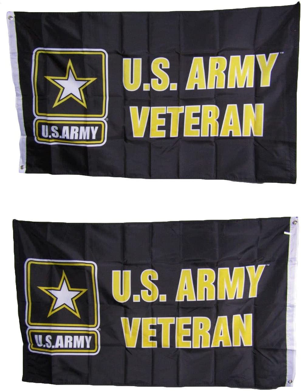 3x5 U.S. Army Veteran Star Heavy Duty Polyester Nylon 200D Double Sided Flag 3'x5' Banner Brass Grommets UV Resistant Premium Quality Double Stitched Canvas Header.