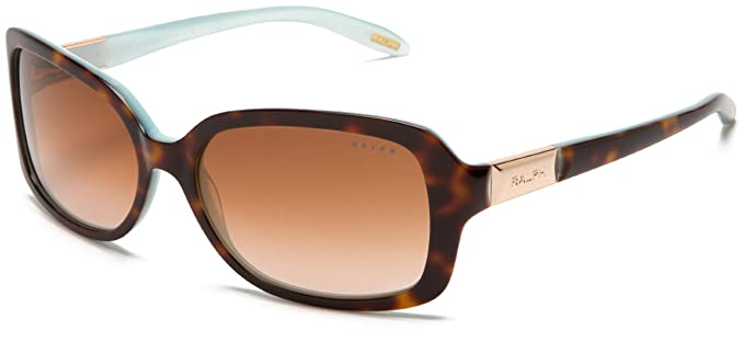 83cc44e56ac7 Ralph by Ralph Lauren Women's 0RA5130 601/1358 Rectangle Sunglasses,Tortoise /Turquoise Inside