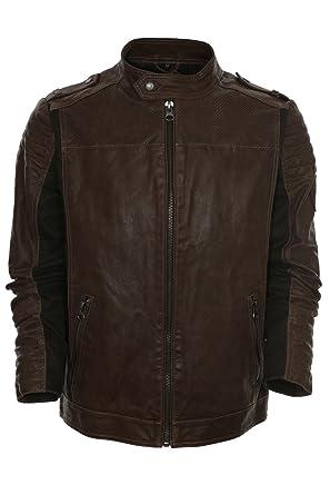 Tom Tailor Lederjacke Bikerjacke Herren Leder Jacke,  Farbe braun Herrengrößen XXL 432675294b