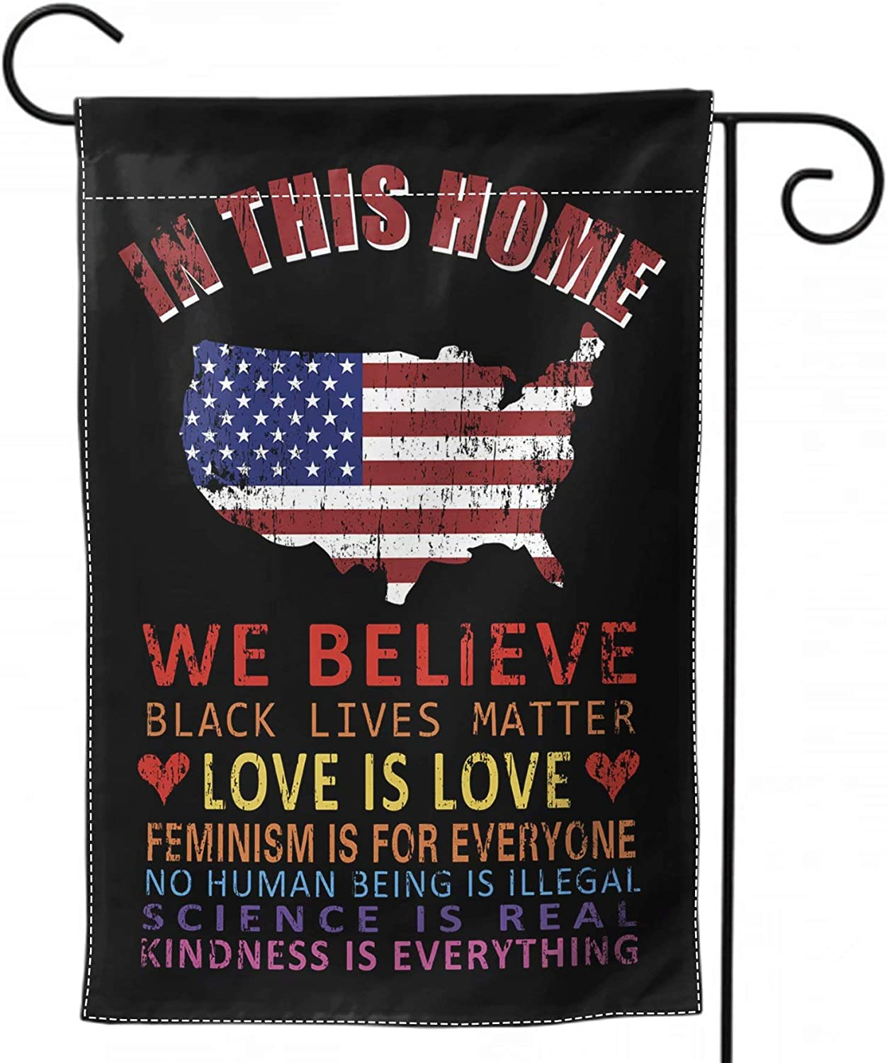 DZGlobal in This Home We Believe Yard Flag BLM Flag 12 x 18 All Lives Matter Flag Protest Signs Flag Double Sided Equality Flag for Outdoor Patio Decor Small
