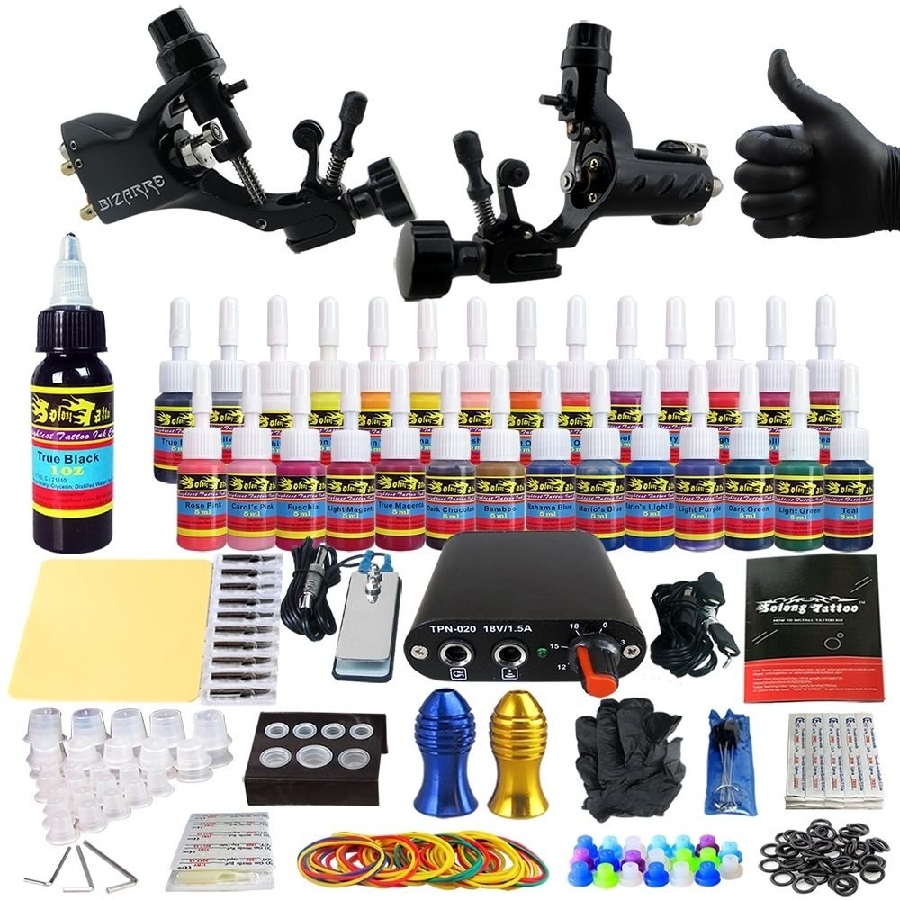 Professional Complete Tattoo Kit 2 Top Rotary Machine Gun 28 Color Ink 20 Needles Power Supply