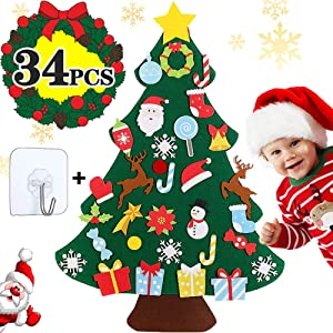 Felt Christmas Tree for Kids with 34 Pcs DIY Christmas Ornaments Wall Decor Xmas Gift for Toddlers Christmas Hoom Door Decorations - 3 FT