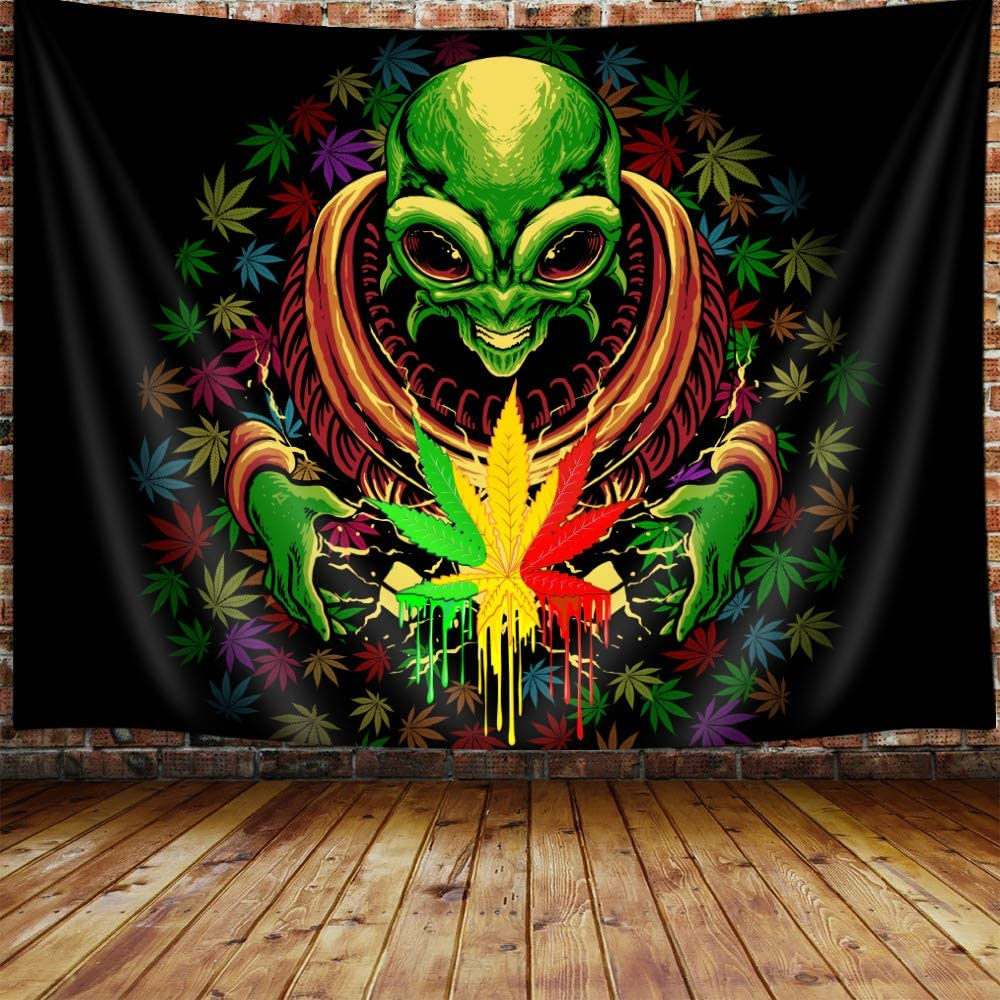 JAWO Weed Tapestry, Cool Trippy Alien Stuff Marijuana Leaf Tapestry Wall Hanging for Bedroom, Psychedelic Tie Dye Stoner Tapestries Poster Flag Beach Blanket College Dorm Home Decor 60X40Inches