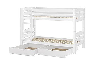 Etagenbett Holz 90x200 : Erst holz® etagenbett kinderstockbett kiefer weiß 90x200 bettkästen