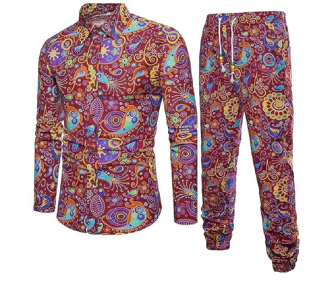 Abetteric Mens Long Pants Casual Loose Set Long-Sleeve Classic Woven Shirt