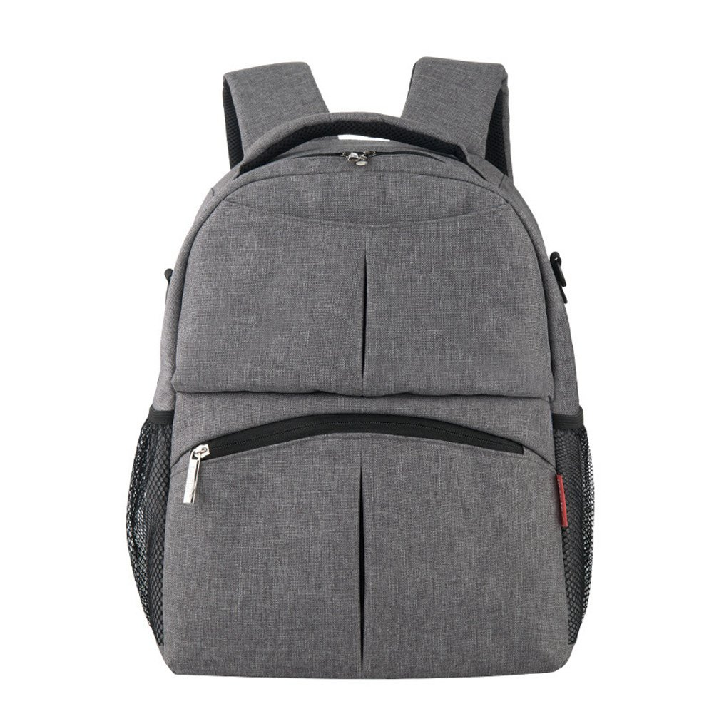 Unisex Multifunctional Baby Diaper Nappy Changing Bag Backpack for Mommy&Daddy (Grey)