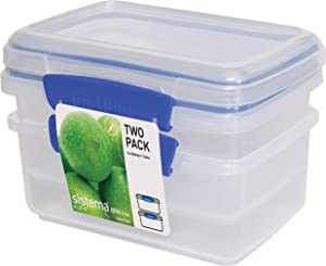 Sistema 1602 Klip It Collection Rectangle Food Storage Container, 33.8 Ounce (Set 2)