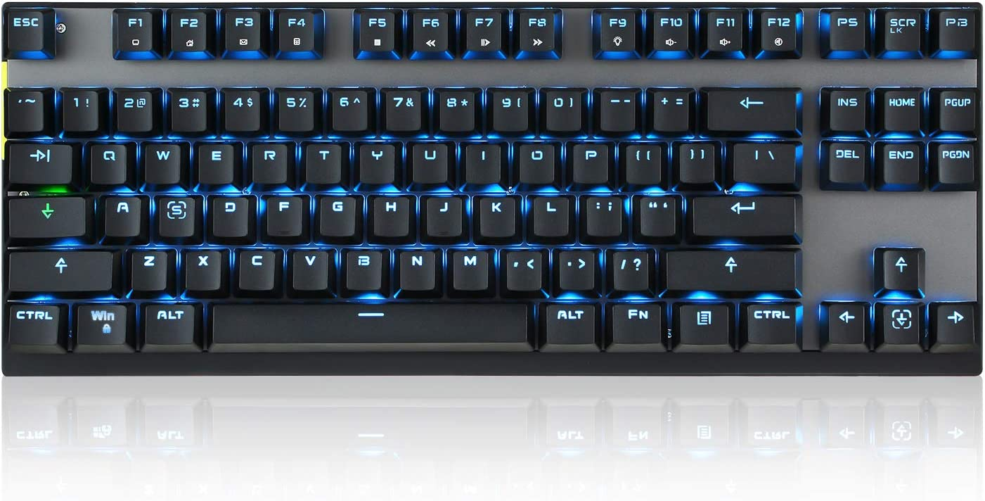 MOTOSPEED 2.4GHz Wireless/Wired Mechanical Keyboard 87Keys Led Backlit Blue Switches Type-C Gaming Keyboard for Gaming and Typing,Compatible for Mac/PC/Laptop
