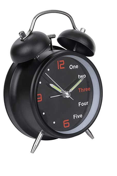 Hello Dream Analog Black Vintage 6 Inch Twin Bell Table Clock