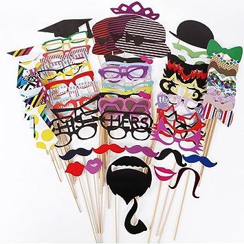 76pcs DIY Photo Booth Props Cabina de Fotos Accesorios Máscara Gafas Labios Rojos Corbatas Sombreros cumpleaños