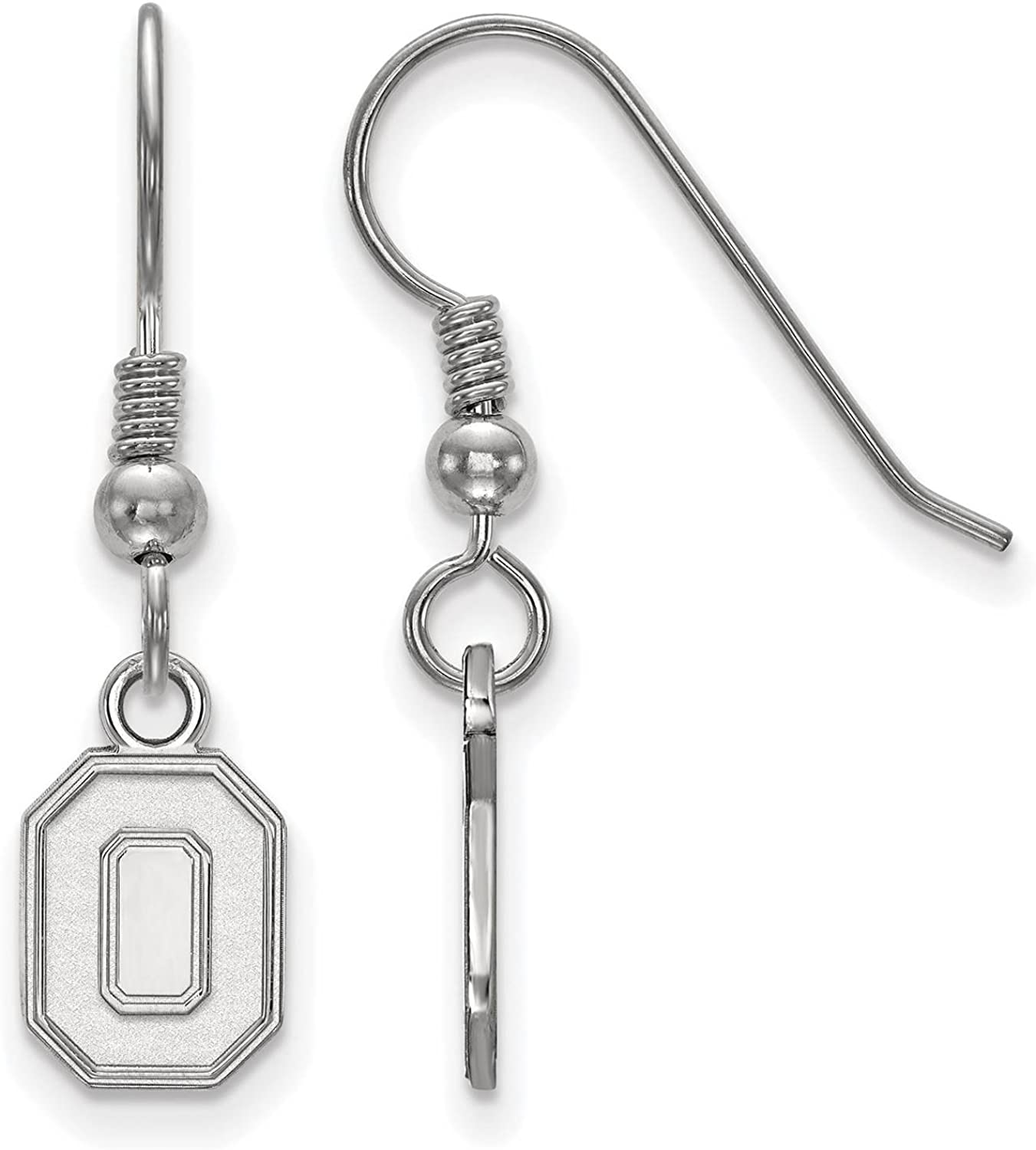 925 Sterling Silver Rhodium-plated Laser-cut Ohio State University XS Dangle Earrings