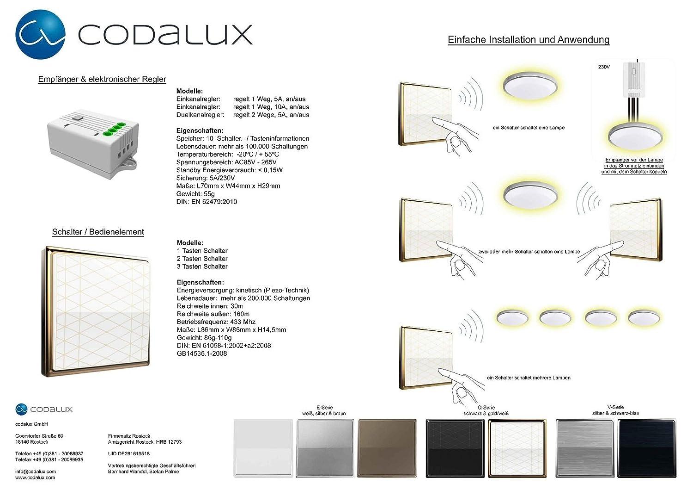 codalux Funkschalter Set E-Serie Kabellos batterielos 2: Amazon.de ...