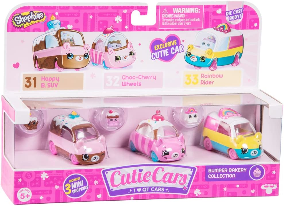 Shopkins 56644 Cutie CAR SPK S1 3PK Bumper Bakery Toy Multi Color 1.38 x 2.36 x 1.57