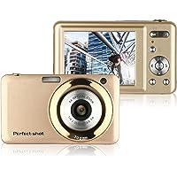 Fotocamera Digitale, STOGA V600 Fotocamera Digitale Compatta TFT da 2,7 Pollici 15MP 1280 X 720 Video HD e Zoom Ottico 5X con Batteria al Litio anti-Movimento Riconoscimento Sorrisi -D'oro