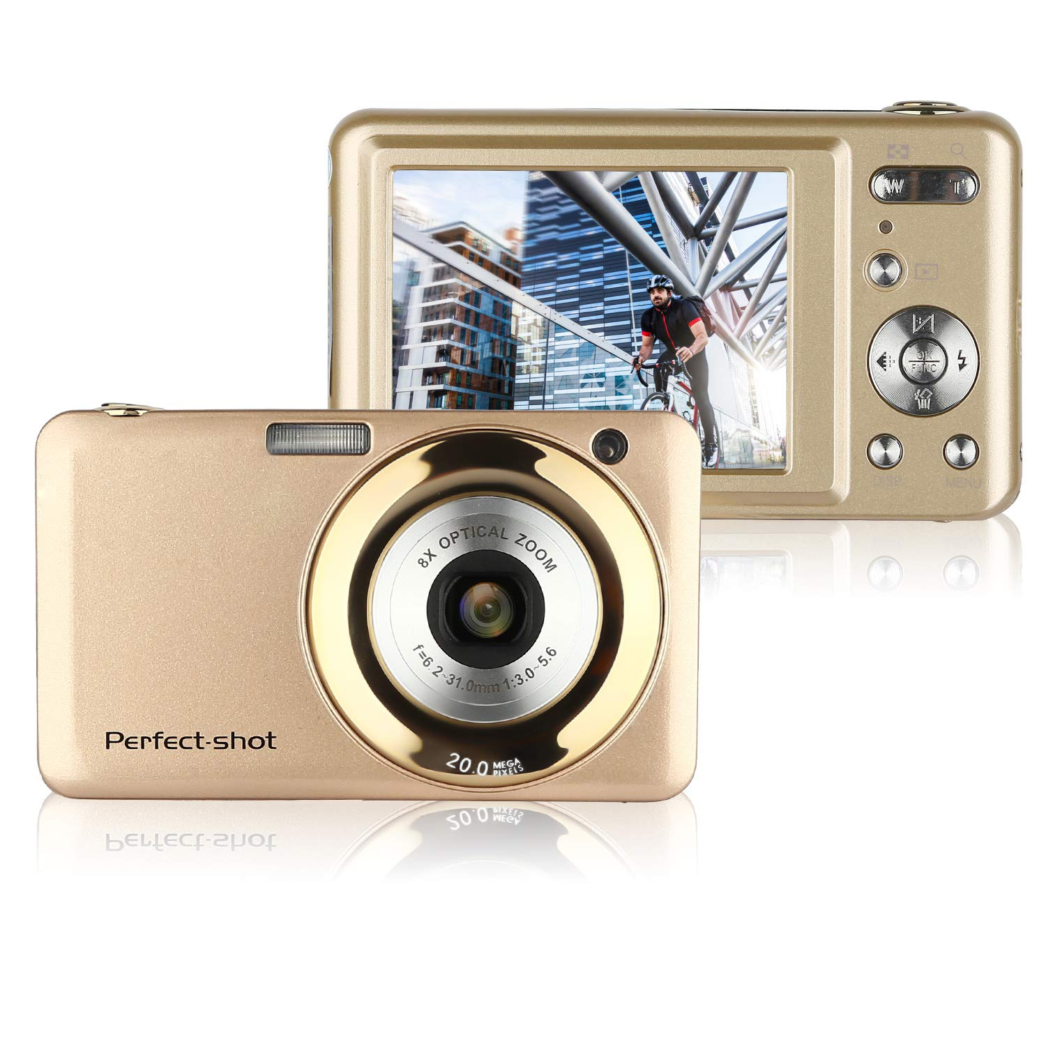 GordVESJB008 2.7 Inch TFT 5X Optical Zoom 15MP 1280x720 HD Anti-shake Smile Capture Digital Video Camera--Gold by GordVE