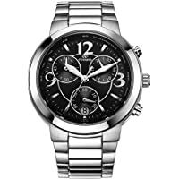 CENXINO Women's Elegant Luxury Chronograph Wrist Watches with Date Calendar and Stainless Steel Band for Gift (Luminous Hands)
