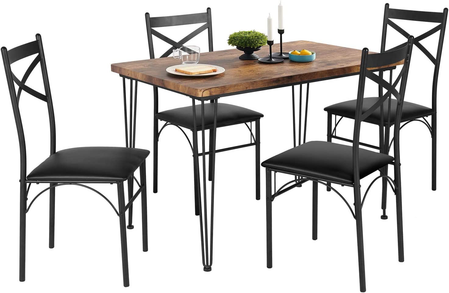 VECELO Rustic Country Set Wooden Table and 4 Chairs with Metal Legs for Breakfast Nook, Kitchen, Dining Room-4 Placemats Included, Black
