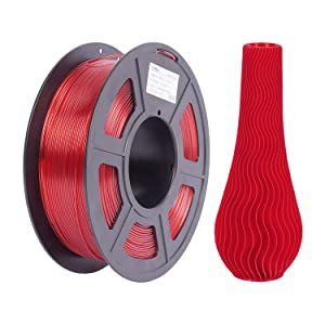 3D PETG Printer Filament Transparent Red, PETG 1kg(2.2lbs), Dimensional Accuracy 1.75mm, 0.02mm, 1KG Spool Transparent Filament