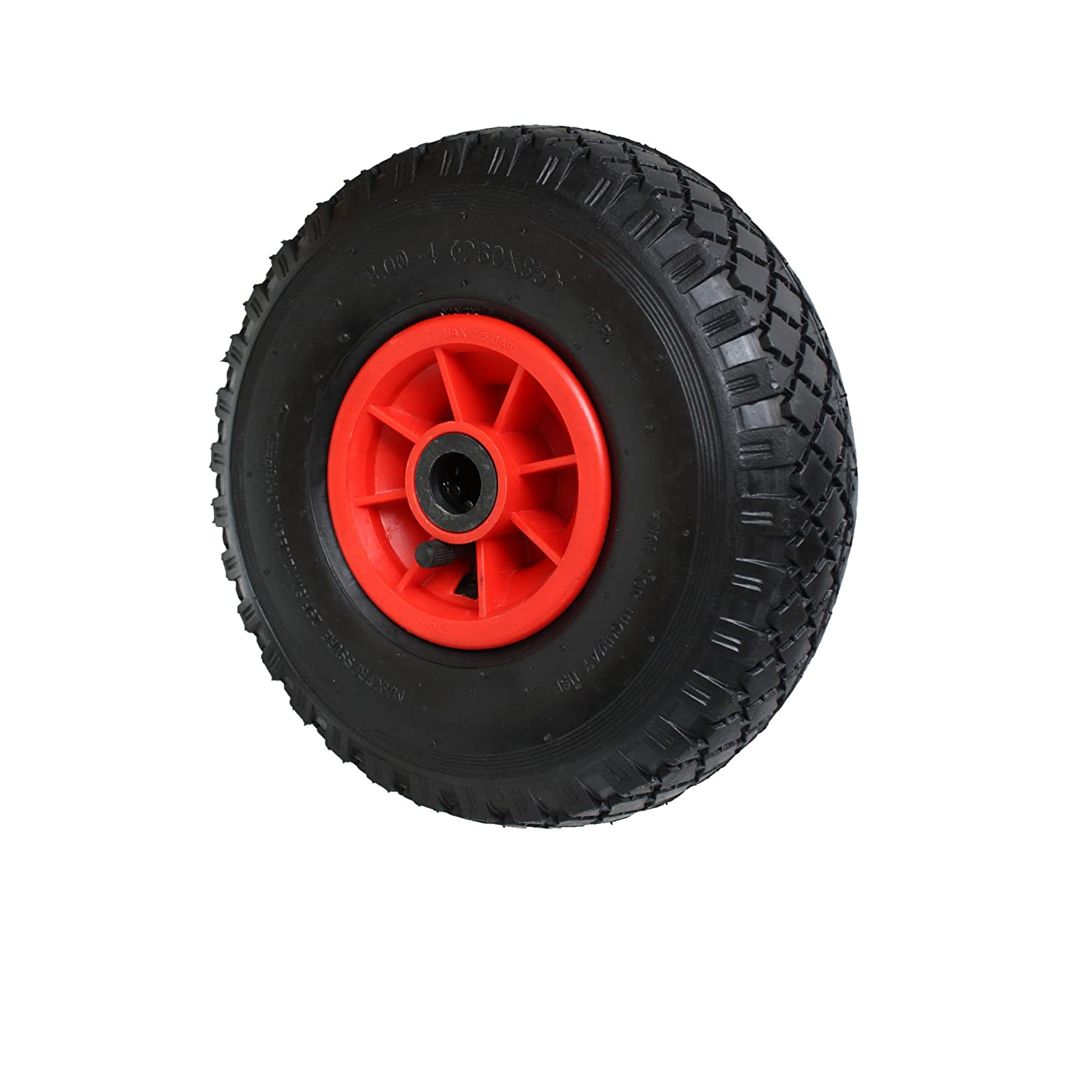 Pneumatic Wheel 260 x 85 x 20 mm - 3. 00-4 PR2 - For Wheelbarrows, Handcarts, Sack Trucks Etc. Max Load: 136 kg stricker-handwerksbedarf T42
