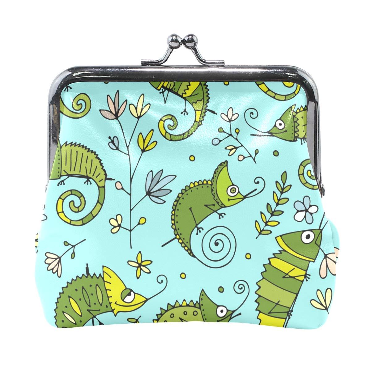 Women Wallet Purse Cute Chameleon Animal Seamless Pattern Clutch Bag Leather
