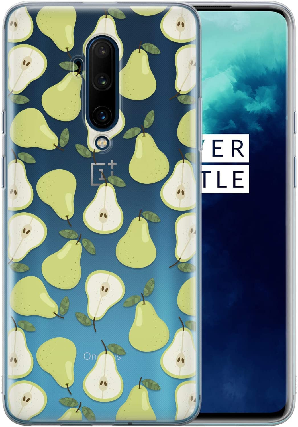 Toik Case Compatible with OnePlus Nord N10 5G N100 1+ 9 8T 8 Pro 7T Pro 5G 6T 5T Slim Protective TPU Food Silicone Green Pattern Fruits Pear Cute Clear Simple Cover Flexible Lightweight phpat183
