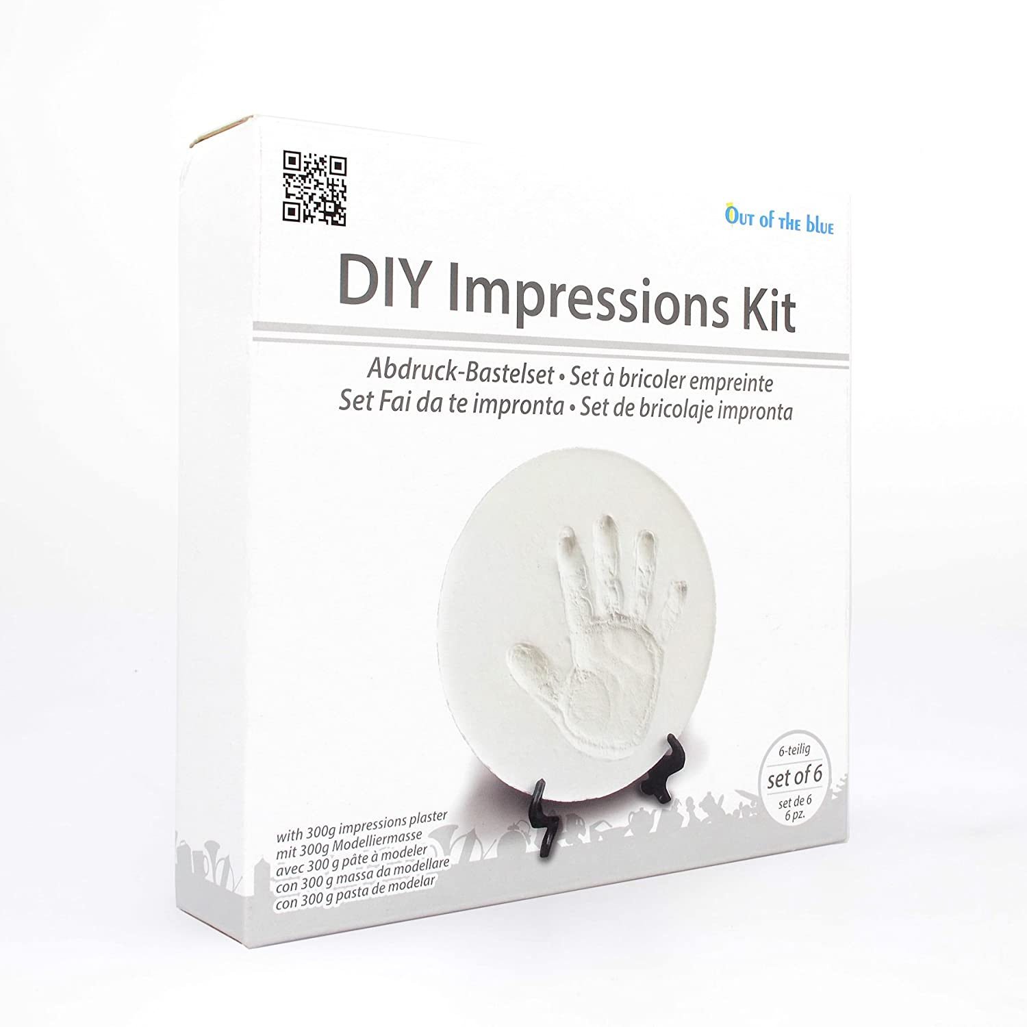 DIY Baby Soft Clay Plaster Dough for Handprint & Footprint Impressions hand & foot print kit with a stand - set of 6 - White Out of The Blue Germany