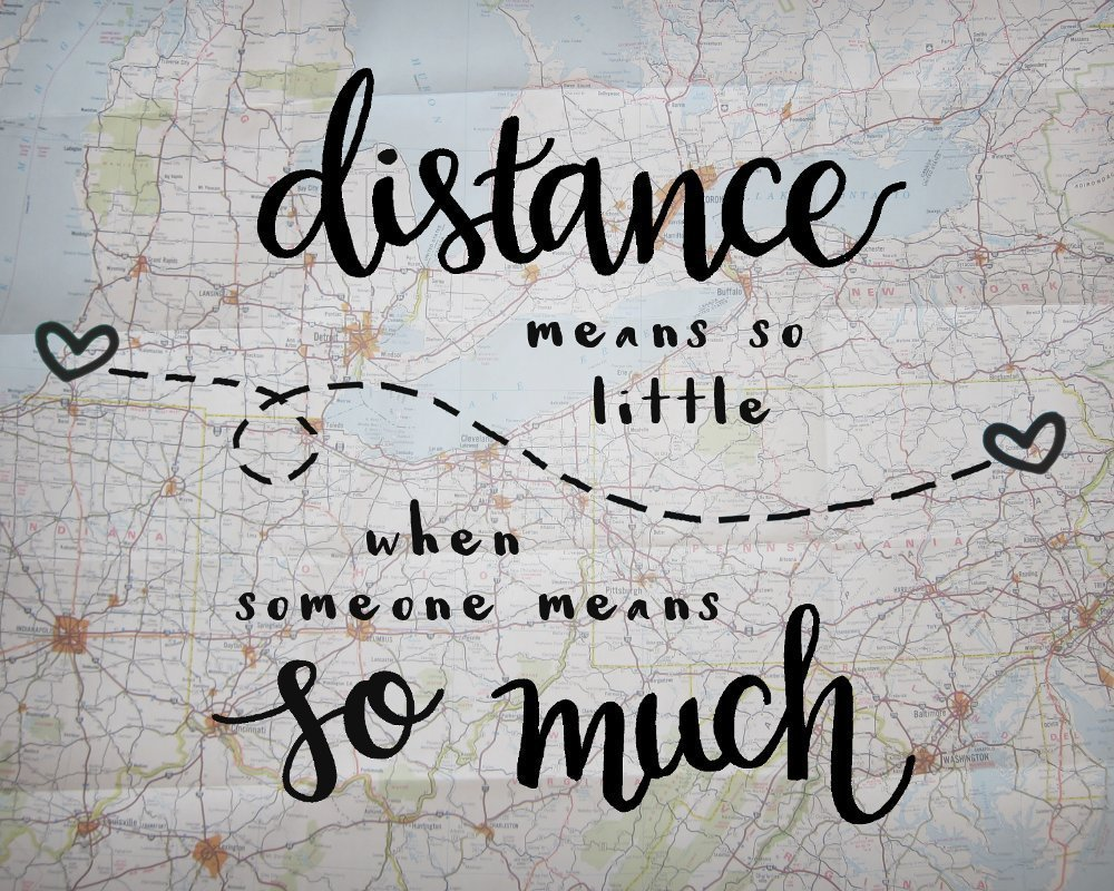 9x12 Inch Print Distance Means So Little Love Quote Print Long Distance  Relationship Gifts Map Artwork