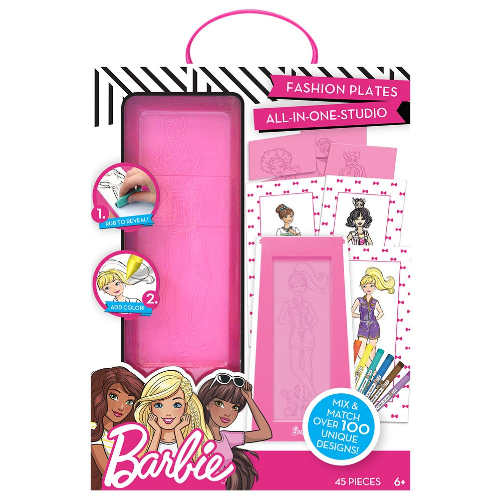 Barbie Fashion Plates All in One Studio by Horizon Group USA, Color, Design & Create Custom Outfits Unique to Your Fashionista, Crayons Included, Multi Colored