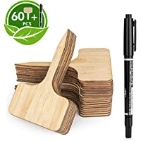 HOMENOTE 60pcs Bamboo Plant Labels (6 x 10 cm) with Bonus a Pen Vegetable Garden Markers T-Type Plant Tags for Plants