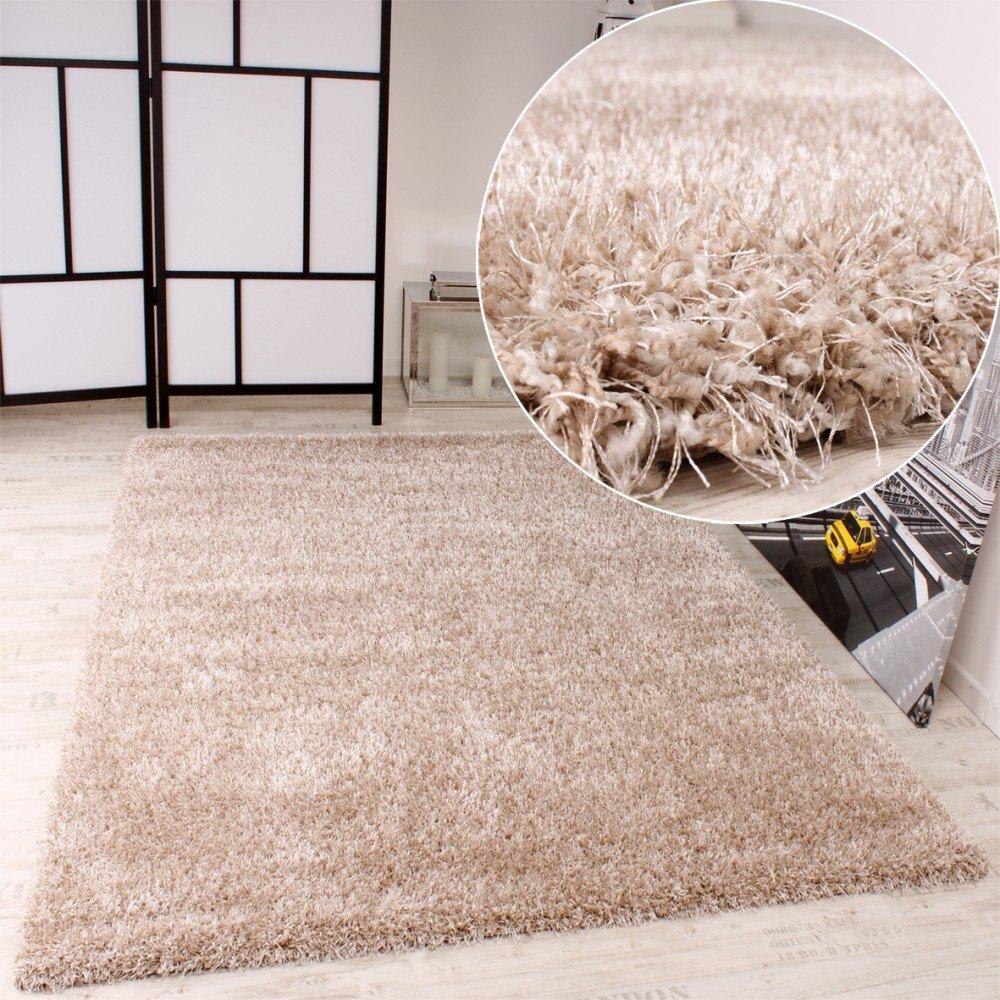 PHC Shaggy Teppich Hochflor Langflor leicht Meliert Qualitativ u Preiswert Uni Creme, Grösse:120x170 cm