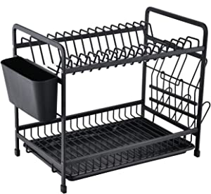 HILFA Aluminum Dish Drying Rack,2-Tier Never Rust Sink Large Dish Rack with Utensil Holder, Cutting Board Holder and Dish Drainer for Kitchen Counter Top, Black,SB-7990