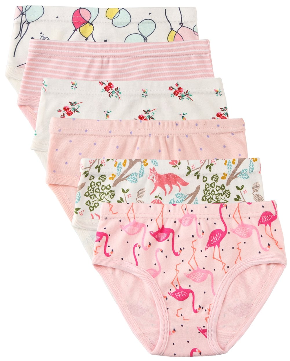 6 Pack Little Girl Underwear Cotton Fit Age 1-7, Baby Girls Panties Toddler Girl's Undies (Flamingo, 5-6 Years/Waist 18.1'',Height 46''-48'') by Cotton Talk (Image #1)