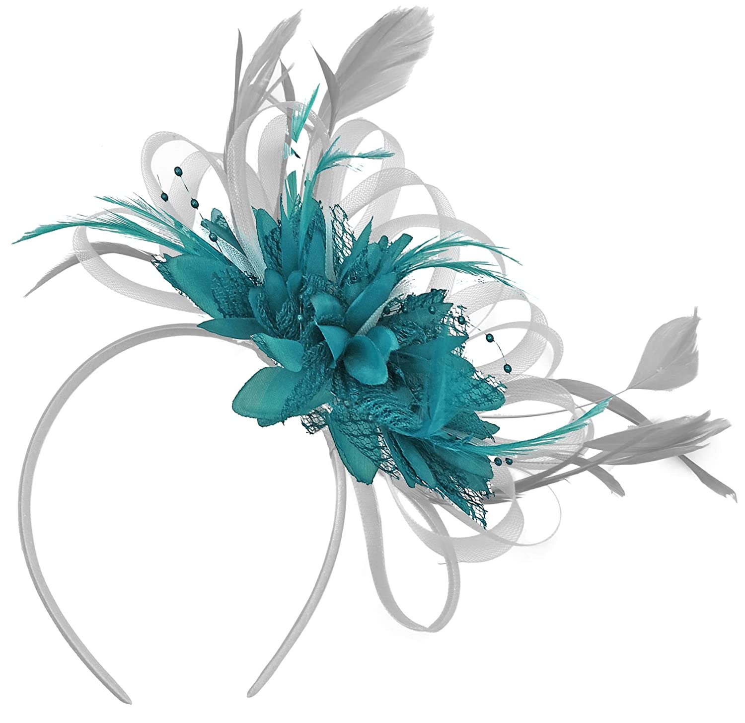 Silver Grey and Teal Turquoise Net Hoop Feather Hair Fascinator Headband  Wedding Royal Ascot Races  Amazon.co.uk  Clothing 5106ab493d3c