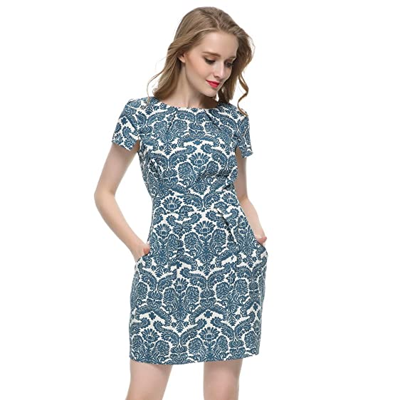 AOBILE(TM) Women Green Royal print Dress Vestido Feminino De Festa vintage short sleeve