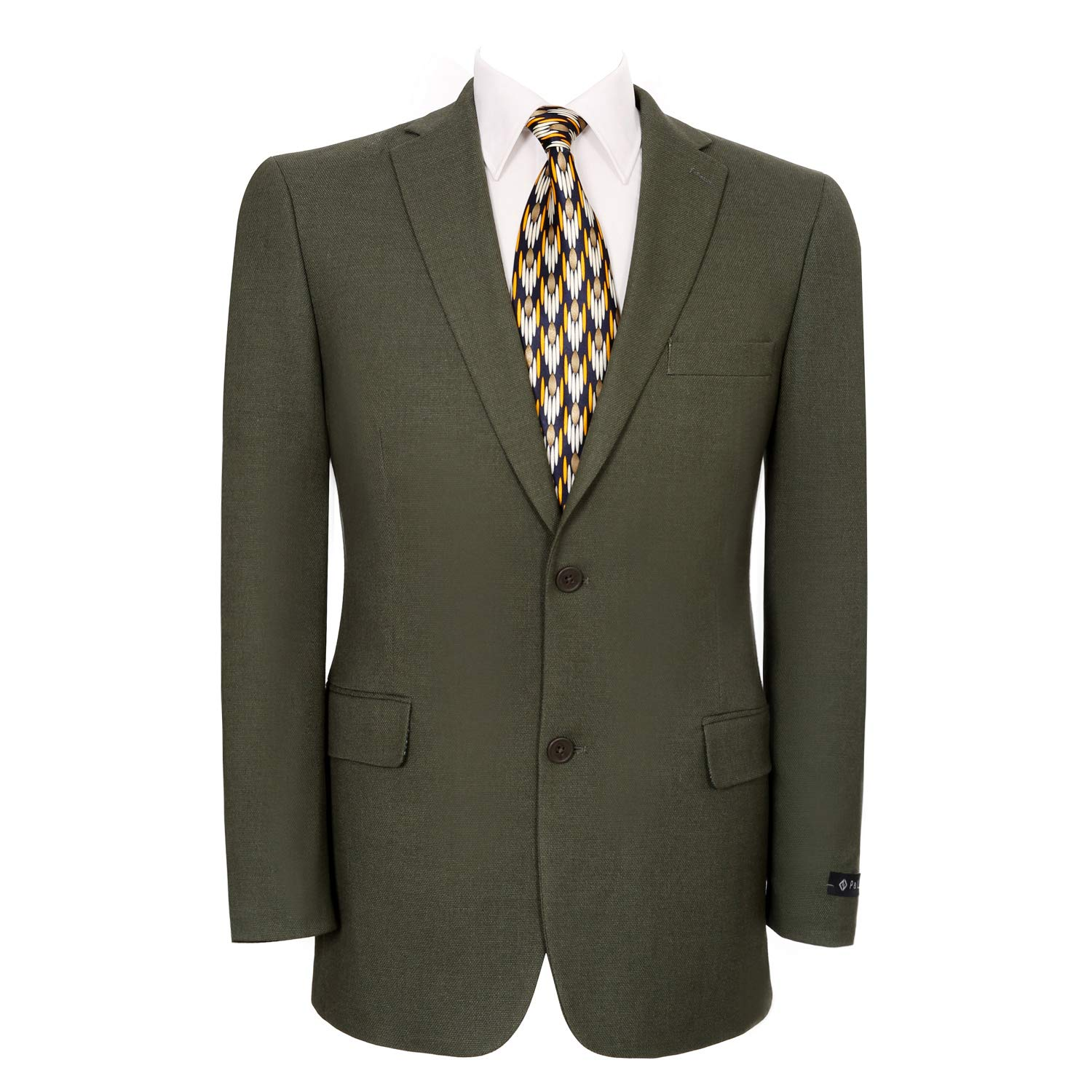 Pio Lorenzo Men's Classic Fit 2 Button Blazer Suit Separate Jacket Olive by Pio Lorenzo
