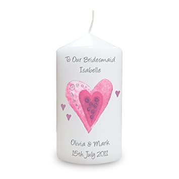 amazon com pmc personalised candles personalised hearts candle