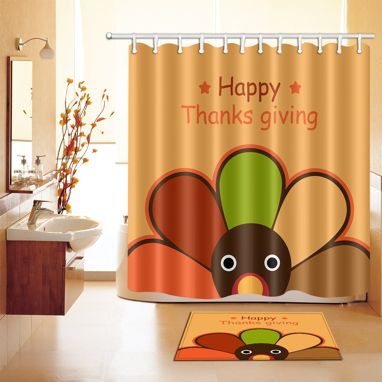 Happy Thanksgiving Day Thanks Giving Stylish Bath Rugs 3D Digital Printing 16x24 Inch Customized Personality Colorful Flower Turkey Peacock Outdoor Indoor Front Door Mat Non-slip Absorbent Bath Mat Colorful Life Shower Curtain YLHJ-150-180